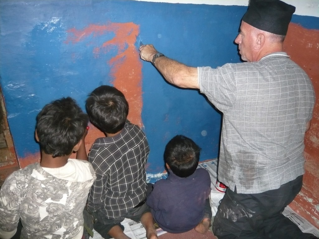 Painting with street children